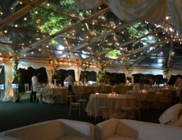 Clear Roof Wedding Marquee with Festoon Lighting
