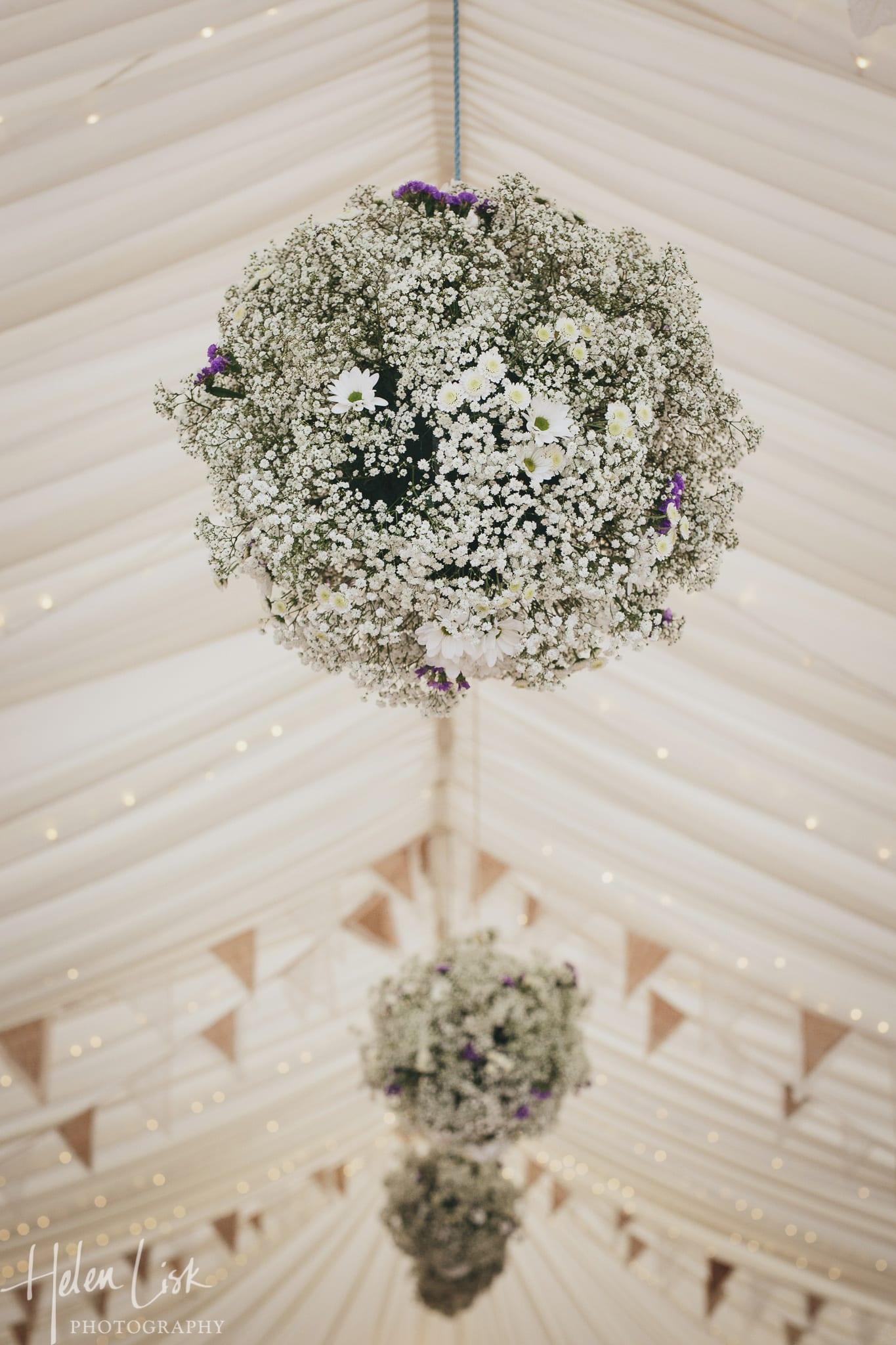 marquee wedding hanging flower balls