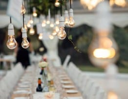 Clear Roof Marquee with Hanging Decorations