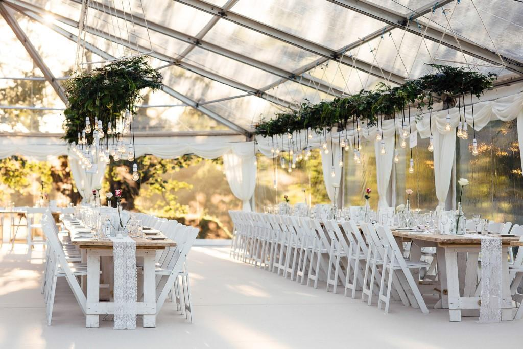 Clear Roof Wedding Marquee, wedding decor, hanging greenery