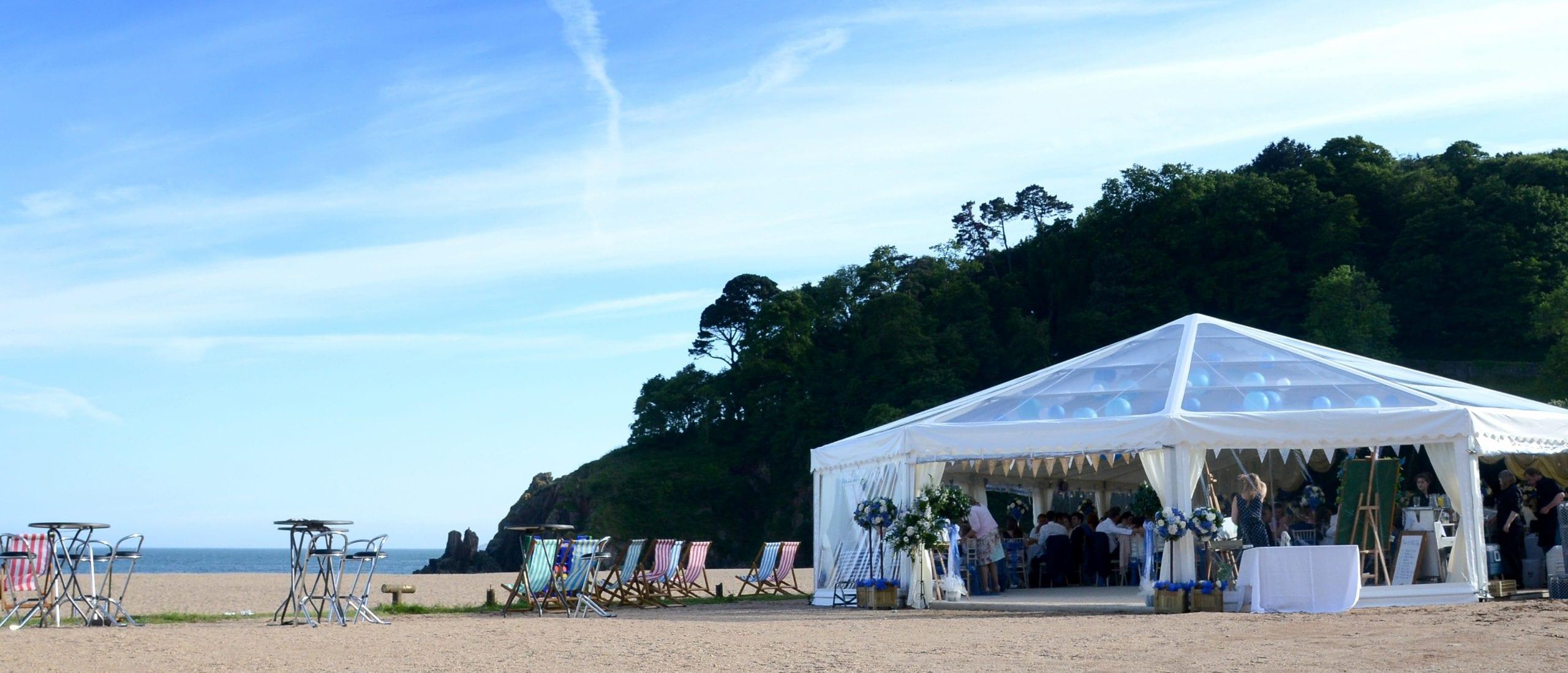 Blackpool Sands Beach Wedding Venue Hatch Marquee Hire