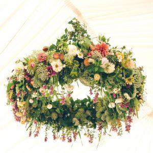 Hanging Flowers Wedding Marquee