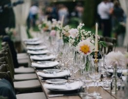 Rustic Wooden Trestle Tables and Cross Back Chairs